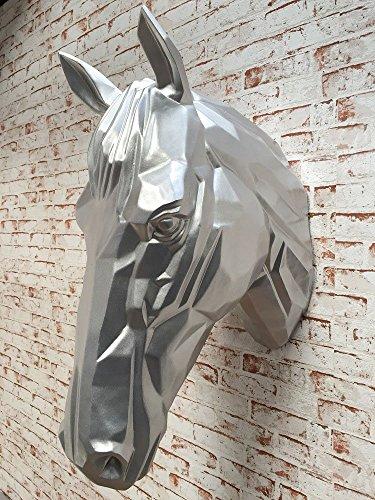dasmöbelwerk Pferdekopf Wand Figur Skulptur Horse Pferd Kopf Wandschmuck Dekoration in weiss silber schwarz 67 cm hoch silber (Pferdekopf Figur)
