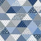 Baumwollstoff 'Patch' | Patchwork Stoff - blau, grau und weiß | 100% Baumwolle | Stoffbreite: 160 cm (pro Laufmeter)*