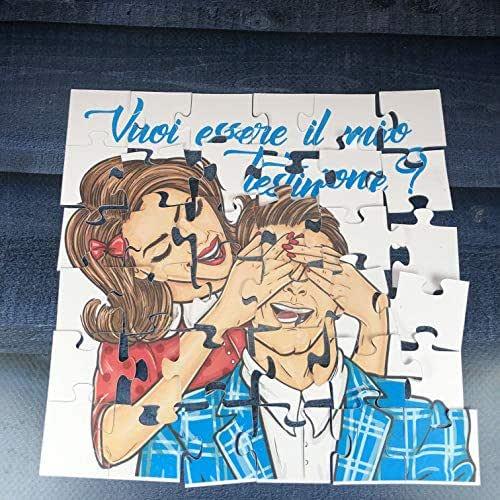 Vuoi essere il mio testimone? Puzzle per testimone maschio della sposa per nozze, matrimonio, personalizzato, disegno a scelta Regalo testimone della sposa