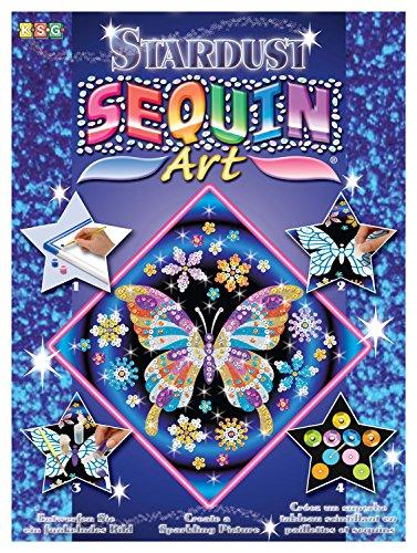 KSG 1012 ca. 27 x 27 cm Sequin Art Stardust Paillettenbild, Schmetterling, Steckset mit Styropor-Rahmen, Bildvorlage, Pailletten, Glitzersand, Acrylfarbe Bastelset für Kinder ab 6 Jahre
