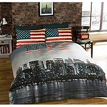 Just Contempo - Copripiumino double-face a tema di ispirazione americana, con skyline di New York e bandiera degli Stati Uniti in stile vintage, colore: Nero, grigio, rosso, blu e panna, Policotone, nero grigio rosso blu panna, Singolo