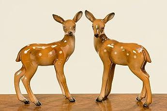 B&B Deko Rehe Bambi 2er Set Tischdeko Weihnachtsdeko Herbstdeko REH Dekoreh braun Dekorehe Waldtiere Dekoration Basteln Herbst