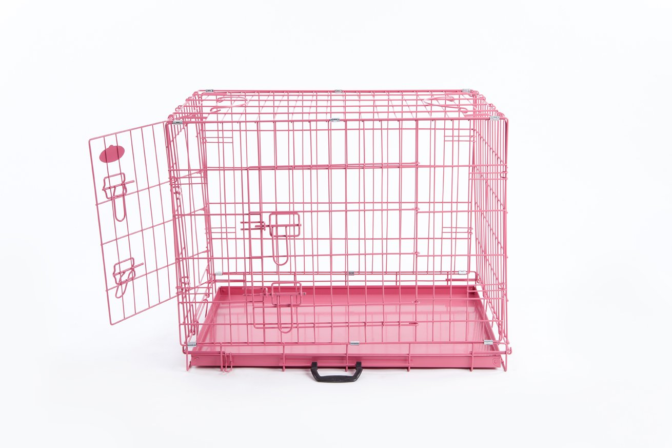 Easipet Pink Dog or Puppy Metal Training Cage Crate XL (Pink 42″ cage)