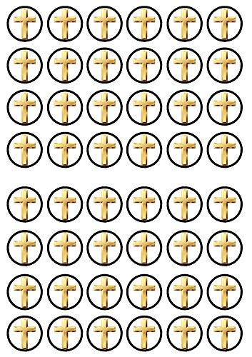 48 Cross, Christening Baptism, 48 Kreuz Taufe Essbare PREMIUM Dicke GEZUCKERTE Vanille, Reispapier Mini Cupcake Toppers, Cake Pops, Cookies für Wafer (Essbare Cake Topper Taufe)