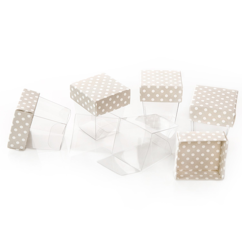 10Mini scatole di regalo trasparenti (3,3x 3,3x 5cm), Coperchio Beige in cartone bianco a pois,