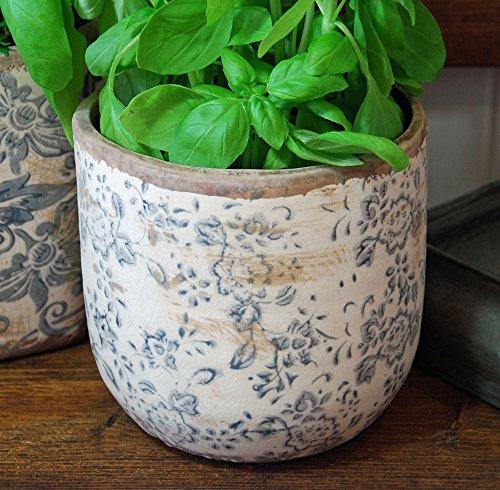 Bluebell Yard Blumentopf, Keramik, rund, Blau/Weiß -