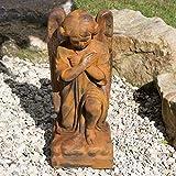 Antikas - Wetterfeste Skulptur in Rostoptik, kniender Engel für Garten oder Friedhof