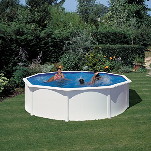 Gre KIT460ECO- Piscina Fidji desmontable redonda de acero color blanco  Ø460x120 cm