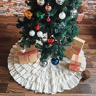 PICTURESQUE Falda Beige de Árbol de Navidad Multicapa Decoración para Fiesta de Navidad 127cm