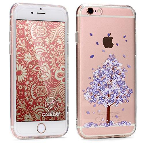 Caseday® Design Schutz-Hülle für Apple iPhone 6 Plus / 6s Plus in Baum Lila transparent Cover Mandala Blume Floral Henna Tribal Case Blumenmuster Handy-Hülle Smartphone Zubehör Schale Etui