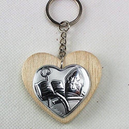 Dlm25155 portachiavi ciondolo cuore in legno per cresima (kit 12 pezzi) bomboniera
