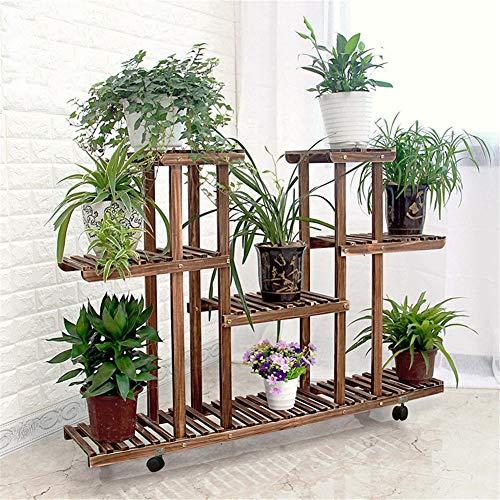 Multi-Layer Holz Blumenregale,Home Balkontür Garten Blumenregal Pflanze-ständer Für Sukkulenten Hängende Orchidee Mit Räder-B (Hängende Orchidee Pflanzer)