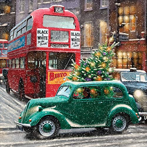 Charity Christmas Cards Retro Christmas Tree Car Gloss Finish - Pack 5
