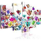 Cuadro 200x100 cm! 5 partes - Grande Formato - Impresion en calidad fotografica - Cuadro en lienzo tejido-no tejido - astrazione 020101-171 200x100 cm B&D XXL