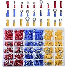 DEDC Kit de 480 Terminales Eléctricos Aislados Surtidos de Presión Kit de Materiales con Caja Plástica para Cableado Eléctrico Cable Conector A Tope Acople Eléctricos