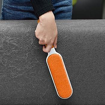 Anti-poils brosse pour animal domestique - Brosse de nettoyage magique réutilisable pour enlever les poils d'animaux de compagnie avec Auto-nettoyage retirer Chien Chat Cheveux (Orange)