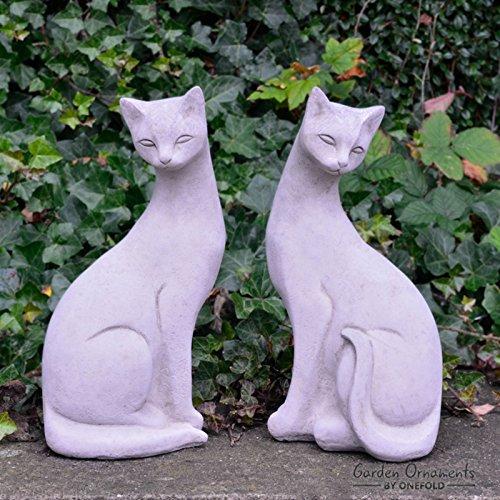 onefold–Siamesische Katzen Paar Katze Stein Gartenornament/Statue/Skulptur/Home Decor/Memorial - Siamesische Katzen