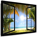 Boikal Bilder Fensterblick - Leinwandbild 80x100cm - Leinwand gespannt - Keilrahmenbild 1 Teilig XXL Wandbilder - Wanddeko -Fenster Motive auswählbar - Kunstdruck Meer, Strand Palmen VI1P1-69J