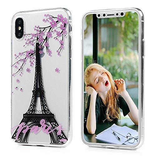 Badalink Coque pour iPhone X, Etui en TPU Silicone Souple Coque de Protection Ultra Mince Scratch Cas de Téléphone Peint Coloré Couverture Arrière IMD - Papillion et Fleur Tour Eiffel et Fleur de Prunier