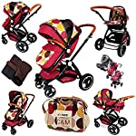 i-Safe System - c&m Trio Travel System Pram & Luxury Stroller 3 in 1 Complete with Car Seat + Changing Bag + Footmuff + Carseat Footmuff + RainCovers