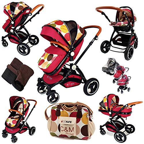i-Safe System – c&m Trio Travel System Pram & Luxury Stroller 3 in 1 Complete With Car Seat + Changing Bag + Footmuff + Carseat Footmuff + RainCovers 61E89I9epJL