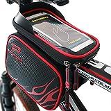 XBoze Fahrradtasche Rahmentaschen Wasserdicht, Fahrrad Handy Tasche mit Abnehmbar Handytasche (Passend bis zu 6,2 Zoll) Radfahren Vorne Top Tube Rahmen Doppel Pouch für Mountain Bike (Rot)