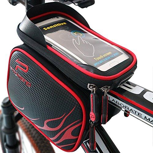 XBoze Bicicletta Borsa Impermeabile Telaio Sacchetto bici Frontale Superiore del Tubo Telaio Pannier Doppio Sacchetto Supporto del Telefono con Touch Screen per 5.7 Pollici Smartphone (Rosso)