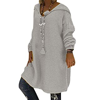 f231e8e0d3b9 Pull Capuche Femme Long Chaud Robe Pull Grosse Maille à Capuche Femme Large  Oversize Pull Tunique
