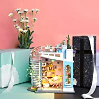 Robotime Miniature Dollhouse DIY Wooden Furniture Kit Mini Green House with LED Best Birthday Gifts (ZAK510)