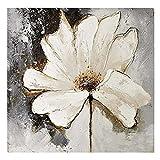 TTKX@@ Moderne Abstrakte Home Decor Wandkunst Leinwand Bild Handgemalt Messer Acryl Blumenbilder Handgemachte Weiße Blumen-Ölgemälde,50X50Cm