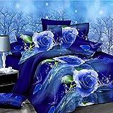 Bargain World 4pcs fibra de poliester del pleito el 3er azul se elevó la flor la reina de ropas de cama de tinte reactiva enorme