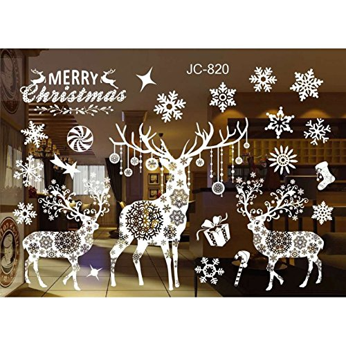 er Aufkleber Wingbind Weiß Fenster Weihnachten Aufkleber Elch Schneeflocke Schneemänner Wandaufkleber Wohnkultur Ornamente ()