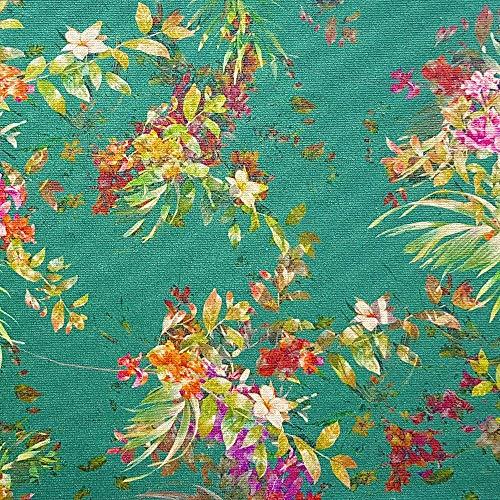 NOVELY® Papaya Velours mit Palmen und Blumen samtiger Möbelstoff (08 Türkis Grün) -