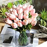 HONG98 Artificial Flowers,Fake Flowers Bouquet Tulip Real Touch Bridal Wedding Bouquet for Home Garden Party Floral Decor 5 Pcs (Rosa)