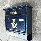 Großer Briefkasten / Postkasten XXL Blau mit Zeitungsrolle Zeitungsfach Schrägdach Trapezdach