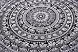 Indian Elephant Mandala Tapestry, Hippie Tapestries, Tapestry Wall Hanging, Indian Black & White Tapestry ,...
