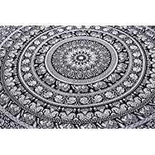 Indian Elephant Mandala Tapestry, Hippie Tapestries, Tapestry Wall Hanging, Indian Black & White