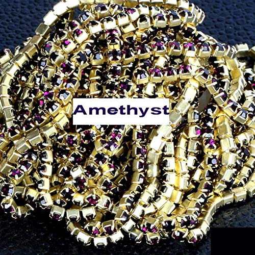 PENVEAT High Density 5 Yards/Roll Gold Base Claw ss6 2mm SS8 2.5mm SS10 2.8mm SS12 3mm Rhinestone Cup Chain Sew On Glue on DIY Trim,A11 Amethyst,SS16 4mm 5yards -