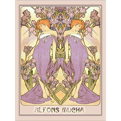 Stampa su legno 50 x 70 cm: The Iris di Alfons Mucha