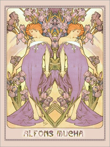 Stampa su legno 90 x 120 cm: The Iris di Alfons Mucha