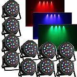 OUKANING 10x LED PAR 56 18x3W RGB DMX Scheinwerfer Flat Compact Floorspot DJ Lichteffekt Disco Beleuchtung