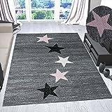 VIMODA Teppich Modern Jugendstil Grau Pink Schwarz Weiß Kurzflor Stern Muster - Pflegeleicht und Top Qualität, Maße:120x170 cm