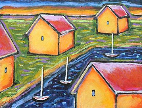 Waterfront Cottage (Waterfront, archivalisch Print Häuser am Wasser, 25,4x 33cm)