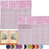 Bestlivings Fadenvorhang 2er Pack Gardine Raumteiler, Auswahl: 90x240 Rosa - kirschblütenrosa