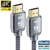 Cavo HDMI 4K 2m, Snowkids Cavi HDMI 2.0 a/b ad alta Velocità con Ethernet, Supporta 4K 60Hz HDR 2.0/1.4a, Video UHD 2160p, Ultra HD 1080p, 3D, Xbox, PS3, PS4, TV, Computer e Monitor (2m)
