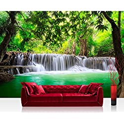 Fotomural, 400x 280cm Premium Plus fotográfico pintado–cuadro de pared–Deep Forest Water Falls–Agua Caso Árboles Bosque Tailandia Agua de mar Mar–No. 067