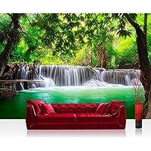 Papel Pintado Fotográfico 350x 245cm Premium Plus–Papel pintado fotográfico pared de pintado de–Deep Forest Water Falls–Agua Caso Árboles Bosque Tailandia Agua de mar Mar–No. 067