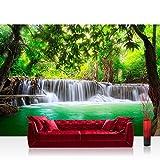 Vlies Fototapete 350x245 cm PREMIUM PLUS Wand Foto Tapete Wand Bild Vliestapete - DEEP FOREST WATERFALLS - Wasserfall Bäume Wald Thailand See Wasser Meer - no. 067