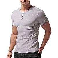 palglg Uomo vestibilità Slim Manica Lunga Henley Maglietta Casuale Scollo a V. Magliette Cotone