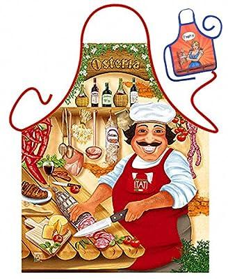 Grillschürze Osteria Küchenschürze Italien Koch Schürze geil bedruckt Geschenk Set mit Mini Flaschenschürze